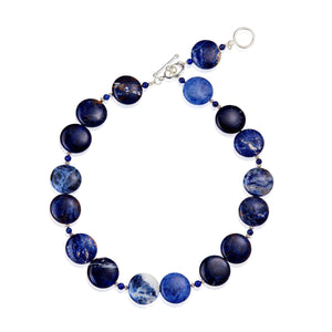 Gorgeous and versatile 2-in-1 necklace, made of Sodalite and Lapis Lazuli gemstones on a 925 Sterling Silver double hoop and bar clasp. (582499401739)