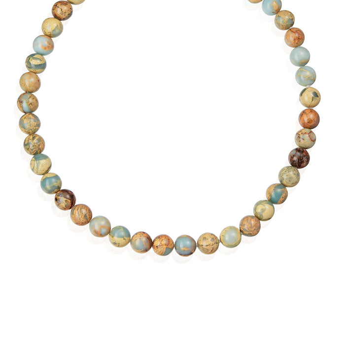 A single row necklace of Impression Jasper natural stones, and 925 Sterling Silver clasp. (582548193291)