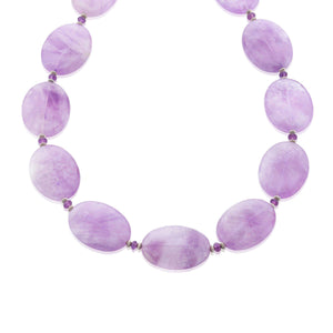 Beautiful handmade necklace with translucent Amethyst gemstones in a soft lavender colour, and interspersed with small faceted Amethysts and Sterling silver rondelles (1445547737200)
