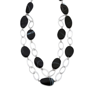 Hammered Sterling Silver links, with the striking semi-precious Black Agates and its natural white colour banding.