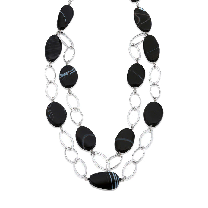 Hammered Sterling Silver links, with the striking semi-precious Black Agates and its natural white colour banding. (1456033890416)