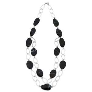 Hammered effect Sterling Silver links, with the striking semi-precious Black Agates and its natural white colour banding. (1456033890416)