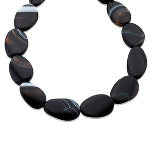 Chic and handmade Black Agate gemstone necklace, accented with Blue Tiger's Eye beads.  (1444235313264)