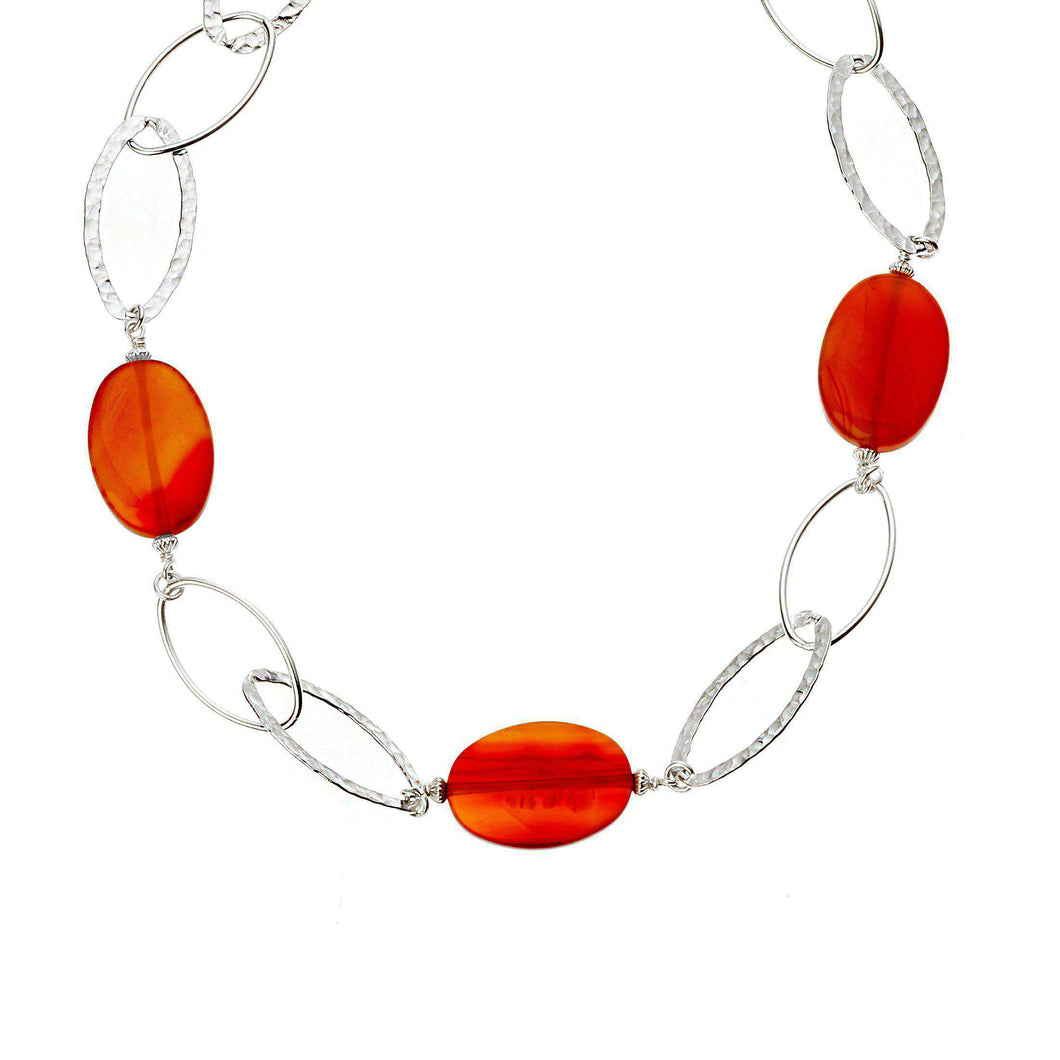 Beautiful choker necklace in 925 Sterling Silver and Brazilian Agate gemstones (2015623675990)