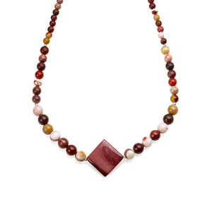 Elegant and colourful one row necklace made of Mookaite gemstones, featuring a diamond shaped larger central stone as a main feature, which graduates down to smaller round beads at both ends. (2022101778518)