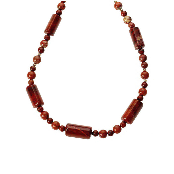 High grade Jasper gemstones long necklace, spaced by gold accents and well-finished by a double hoop and bar clasp.