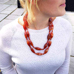 double row Orange Agate necklace