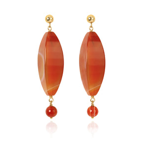 Carnelian and Agate long drop earrings (4055272521814)