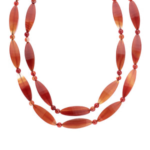 2 row Agate and Carnelian necklace