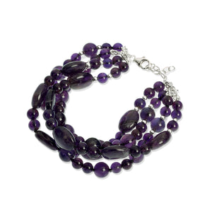 Multirow Amethyst bracelet (4055345397846)