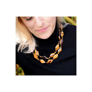 Handmade two-row Tiger's Eye necklace, combining diamond shaped and round cabochon cut gemstones (1451604377712)