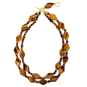 Handmade two-row Tiger's Eye necklace, combining diamond shaped and round cabochon cut gemstones