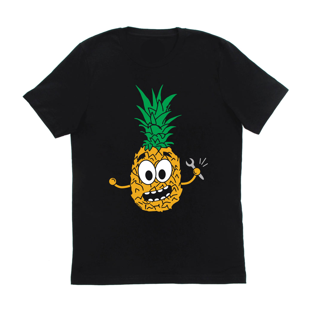 Jimmy Oakes cartoon pineapple t-shirt is screen printed using white, gold, green, and grey water based inks for a soft feel.