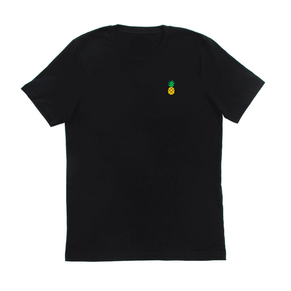 Yellow and green pineapple embroidered to the left chest of a Jimmy Oakes Port & Co PC61 Jet Black t-shirt