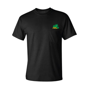 pictured is a black pocket t-shirt screen printed with three cartoon pineapples coming out of the pocket using gold and green discharge inks for a soft hand feel