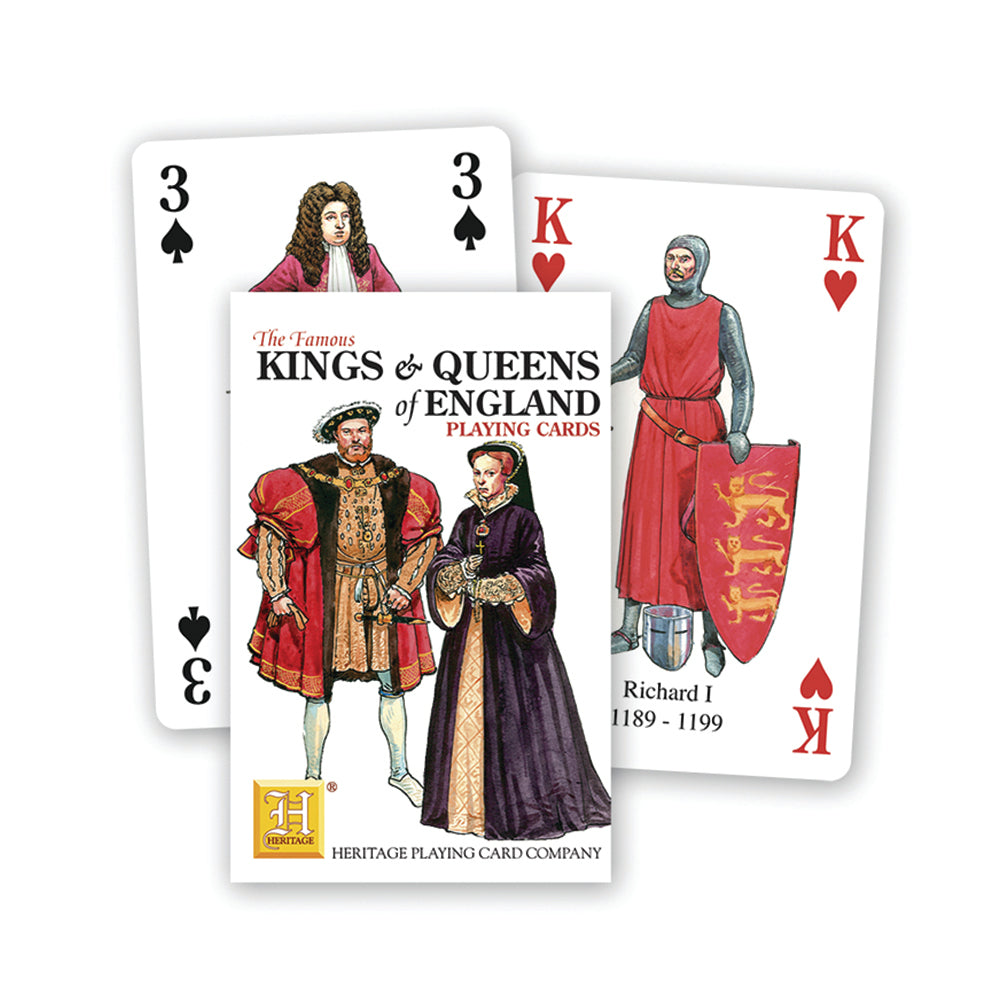Kings and Queens of England playing cards, front of pack