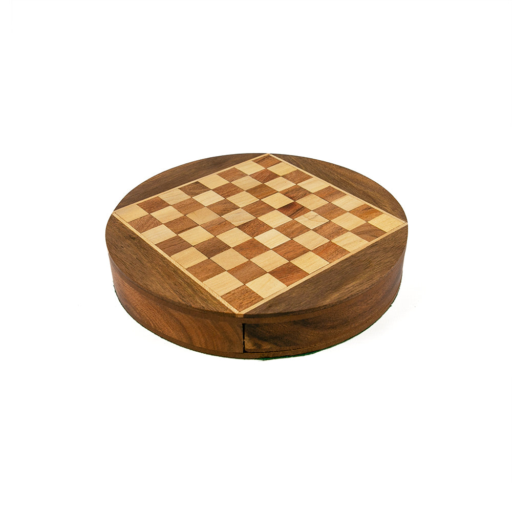 Cambridge magnetic chess set with round board and drawer