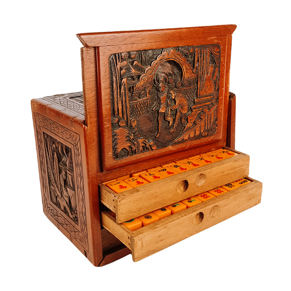 Five-drawer camphorwood case mah jong set (bakerlite tiles) - 1930s
