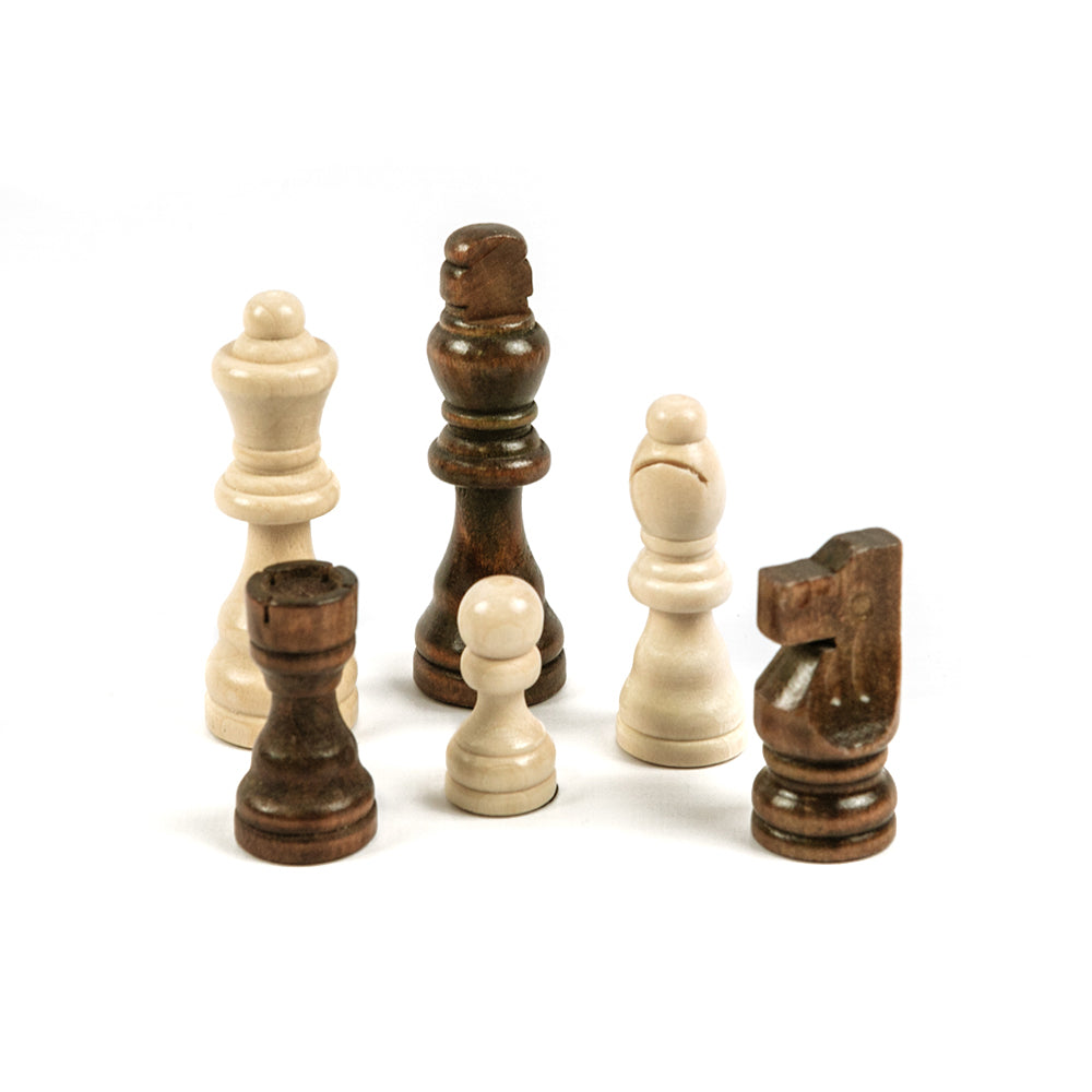 Keble chess pieces: Staunton style in unweighted birch wood