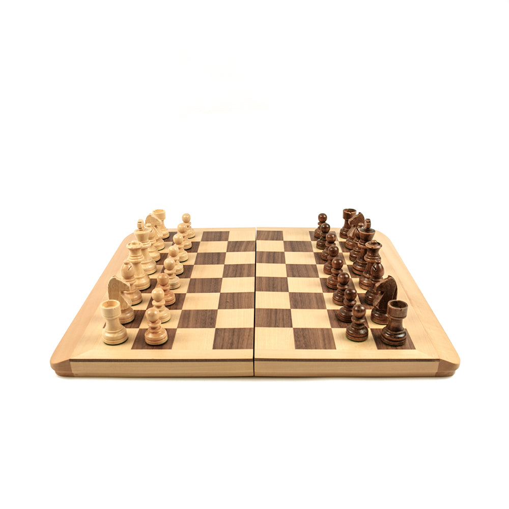 Folding wooden (linden and walnut) chess set