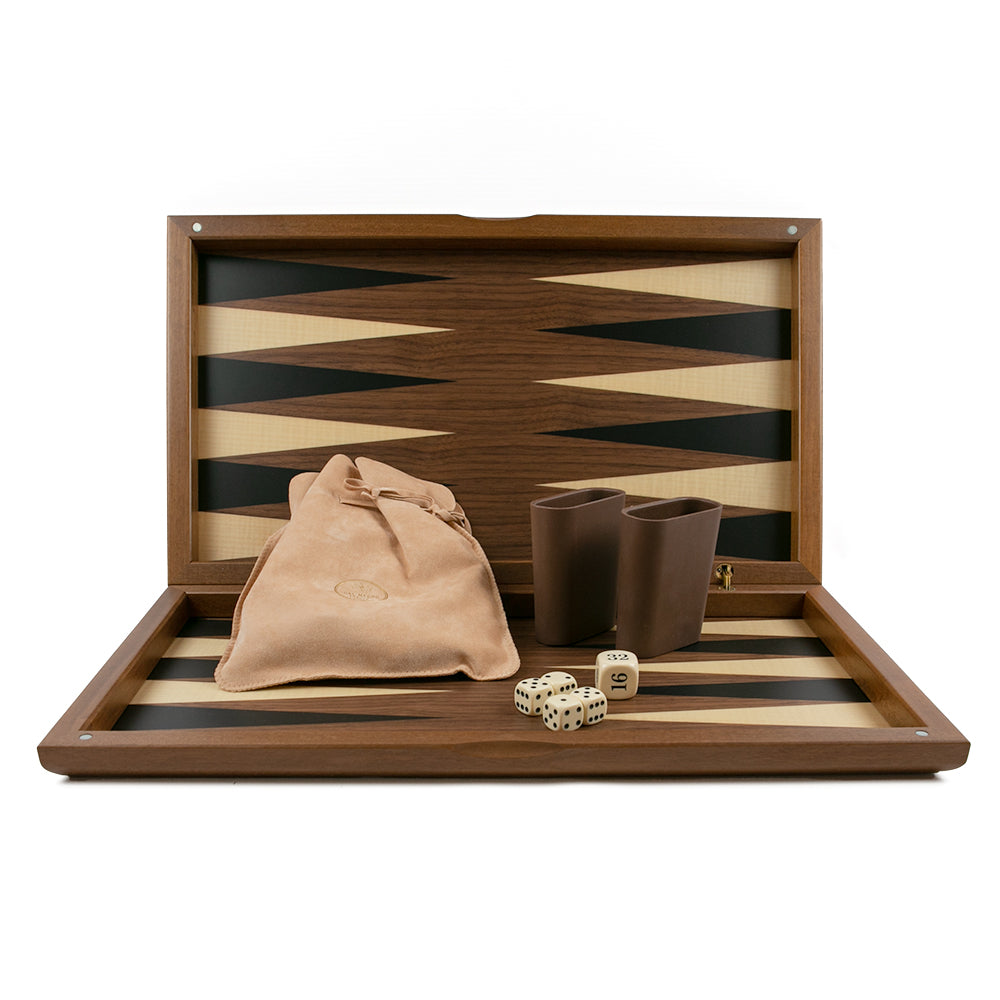 Milan folding backgammon set: walnut, maple and toulipier wood