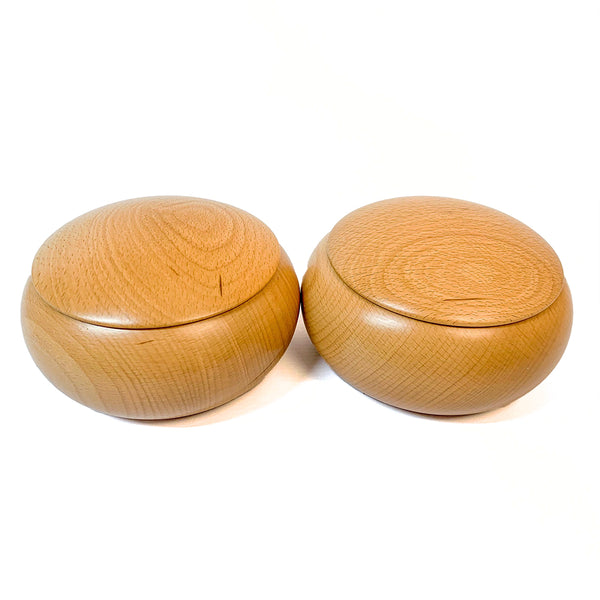 Go stone bowls: natural beech wood