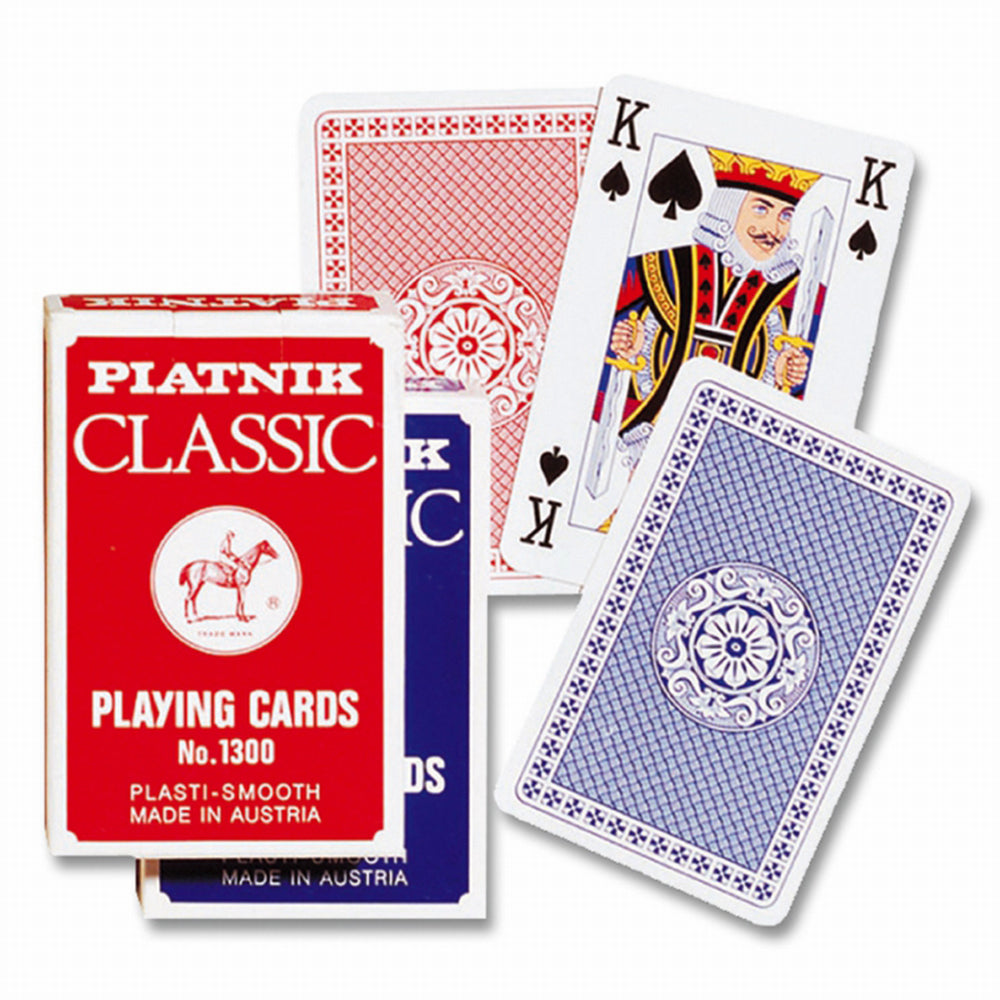 Selection of cards, showing front and back, in red and blue variants