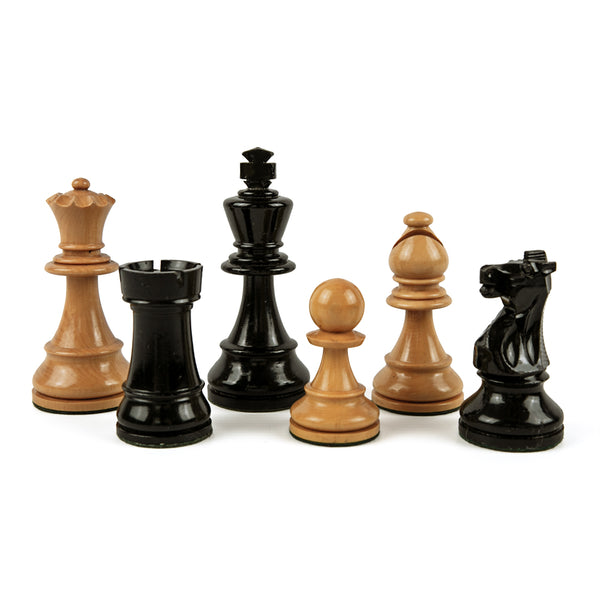 Staunton style chess pieces in triple weighted black and natural boxwood - 1920s