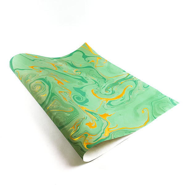 Teal/gold marbled wrapping paper