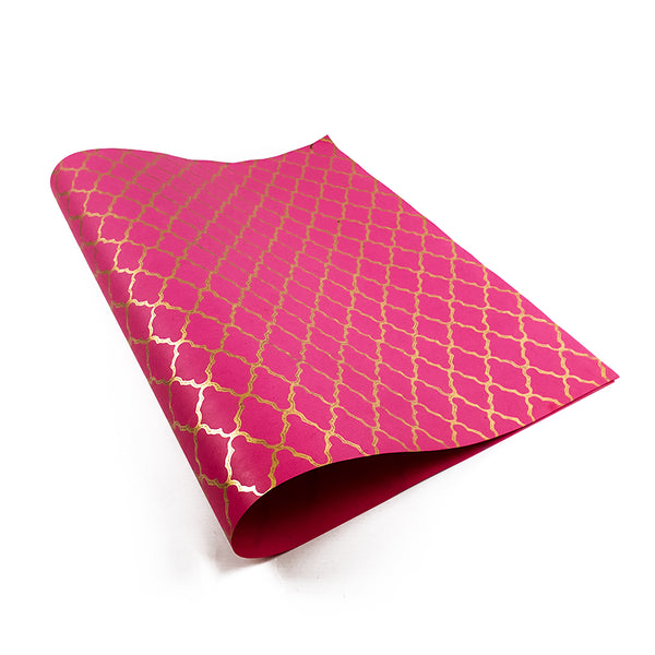 Marrakesh pink/gold block-printed wrapping paper