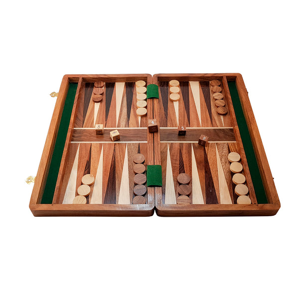 Backgammon set laid out for play.