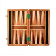 Backgammon set open, without pieces.