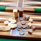 Detailed shot of backgammon pieces.