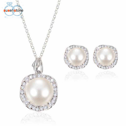 Simulated Pearl Necklace Set