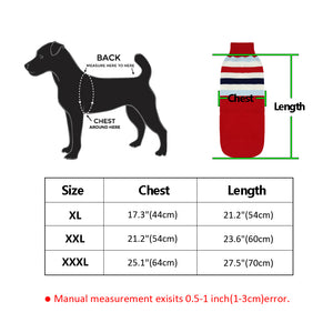 size chart for the coat in dog clothing
