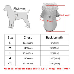 puppy Dog coat clothes size chart US