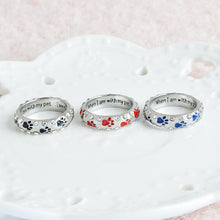 "Load image into Gallery viewer, ""when I am with my pet,,,I am complete"" Rhinestone  Paw Print Ring - FunnyPaws"