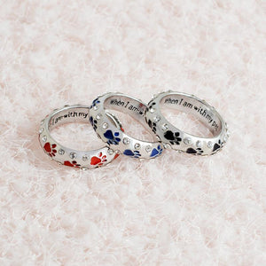 """when I am with my pet,,,I am complete"" Rhinestone  Paw Print Ring - FunnyPaws"