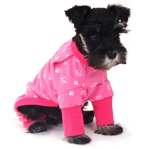 small dog wearing nightwear warm pyjama UK US