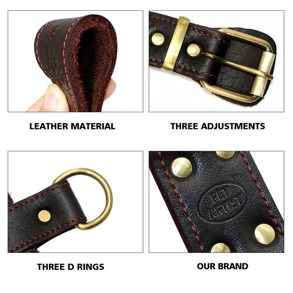 Genuine Leather Dog Harness for Large Dogs - FunnyPaws