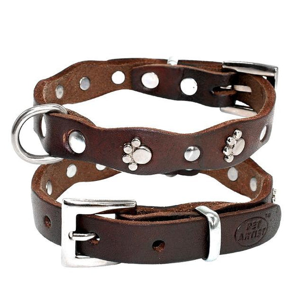 Leather Paw design  Collar - FunnyPaws