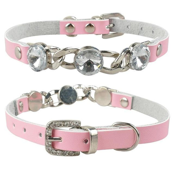 Rhinestone  Diamante  Leather Collar - FunnyPaws