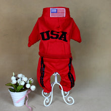 Load image into Gallery viewer, Red dog clothes jumpsuit USA New jersey