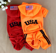 Load image into Gallery viewer, Red  orange dog usa jumpsuit
