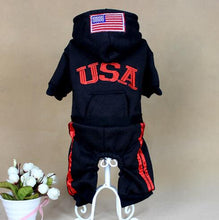 Load image into Gallery viewer, black USA Clothe jumpsuit flag