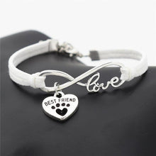 Load image into Gallery viewer, Pet Lovers Leather Bracelet Infinity Love and Heart Pendant - FunnyPaws