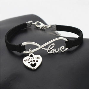 Pet Lovers Leather Bracelet Infinity Love and Heart Pendant - FunnyPaws