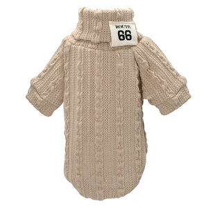 Beige  roll-neck Sweater  for small dog