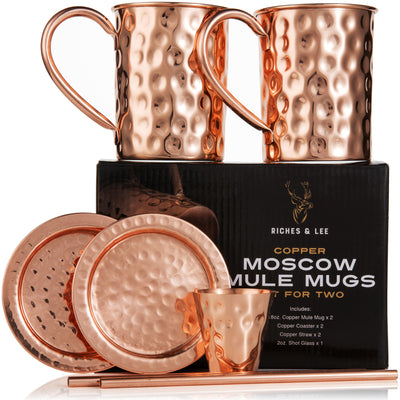 Moscow Mule Copper Mugs: Set of Two - Includes 2 x 16oz Mugs, 2 x Coasters, 2 x Straws, 1 x Shot Glass/Cup in Gift Box - 100% Copper - Roosevelt Style Drinking Mug