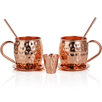Moscow Mule Copper Mugs: Set of Two - Includes 2 x 18oz Mugs, 2 x Coasters, 2 x Straws, 1 x Shot Glass/Cup in Gift Box with 100% Copper Handmade Barrel Style Drinking Mug
